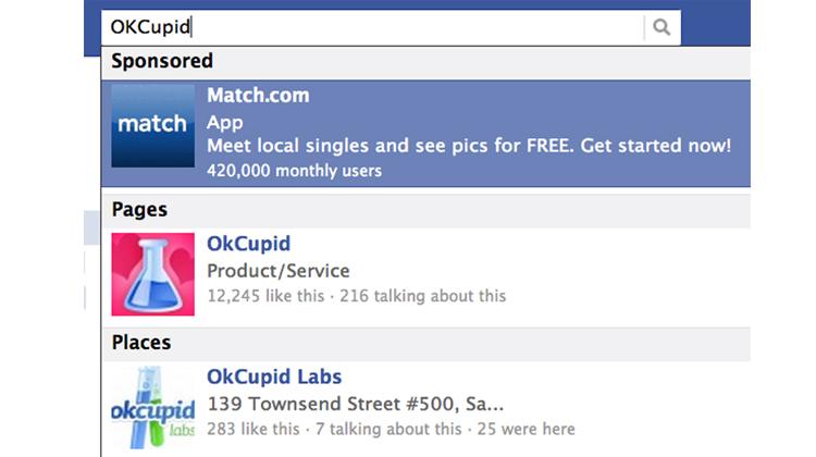 Facebook hiển thị quảng cáo ngay cả trên thanh tìm kiếm