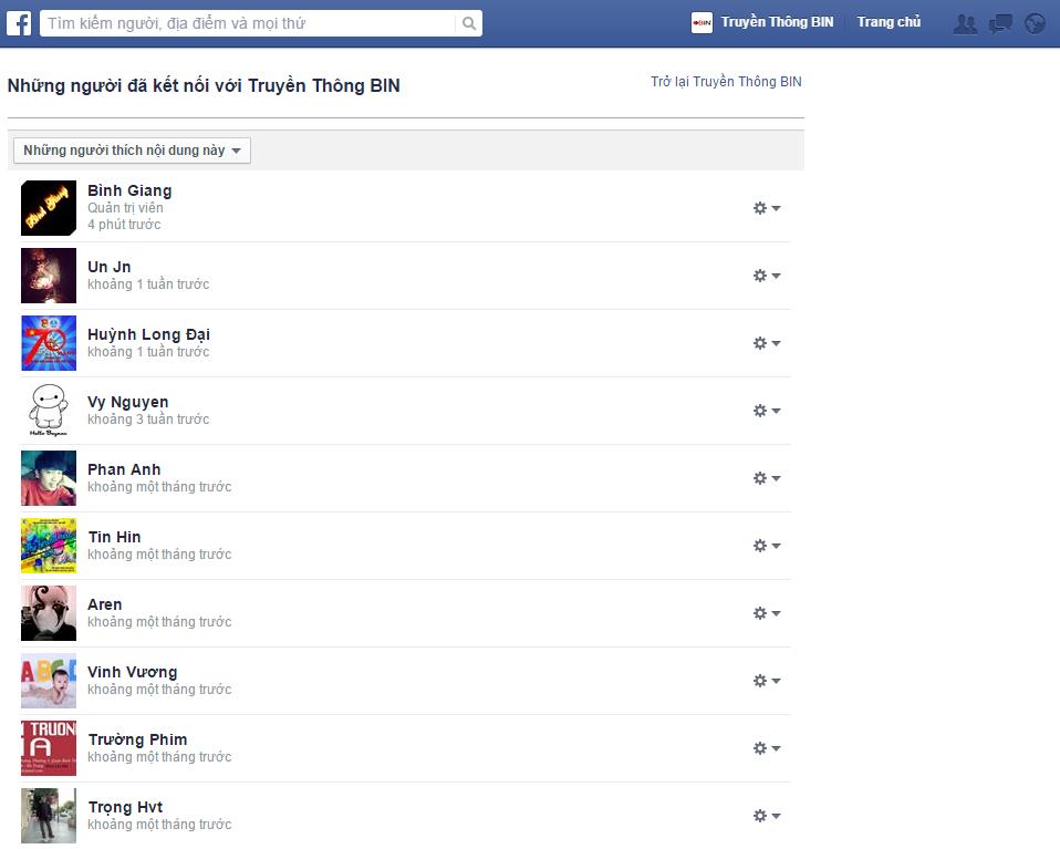 Danh sách toàn bộ người dùng đã like BIN Media