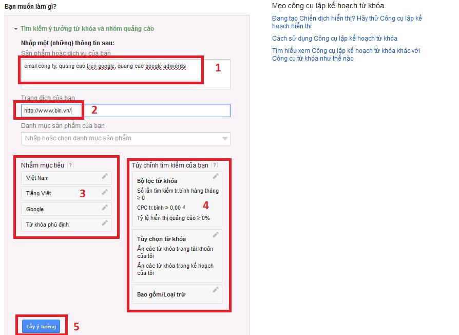 Google Keyword Planner cũng hỗ trợ bạn kiểm tra nhiều từ khóa cùng lúc
