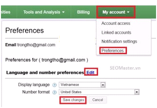 Chọn ngôn ngữ trong Google Keywords Tools