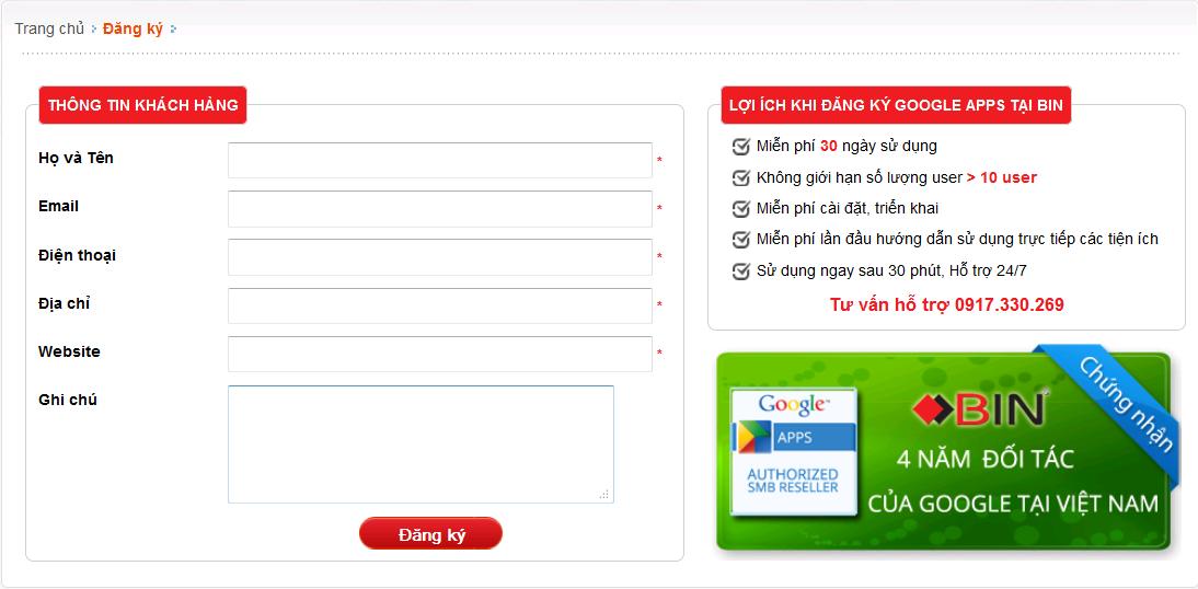 Nhập thông tin đăng ký dịch vụ Google Apps