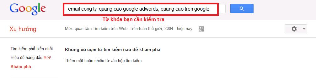 Nhập từ khóa vào Google Trends