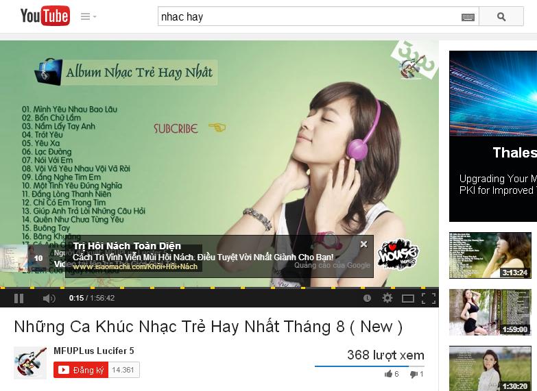 Quảng cáo YouTube hiển thị dưới dạng văn bản