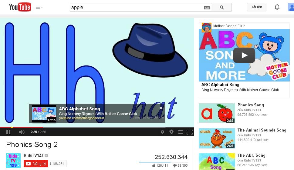 Quảng cáo YouTube hiển thị dưới dạng video