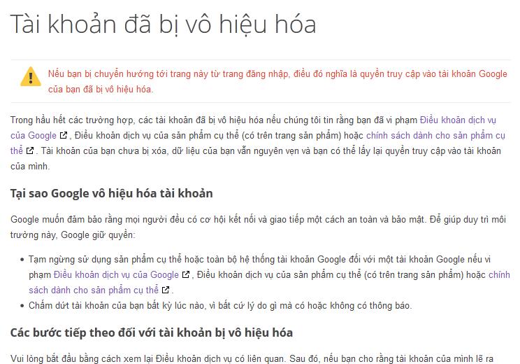 Mẫu thông báo tài khoản Email Google Apps bị vô hiệu hóa
