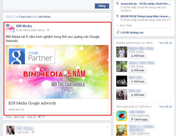 Vị trí quảng cáo trên Facebook ở giữa
