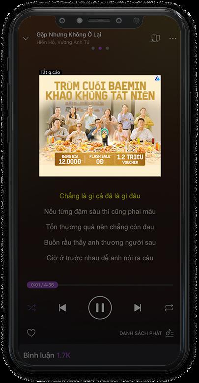 Quảng cáo xuất hiện trong app Zing MP3